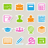 Education sticker icons set. Stock Photo