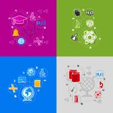 Education sticker infographic Stock Photo