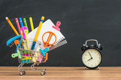 Education for student Back to School with supplies Shopping cart Royalty Free Stock Photography