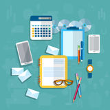 Education, student desk, communication, messaging, desk in offic Stock Images