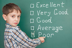 Education: student having problems at school with low self-ratin. G Royalty Free Stock Images