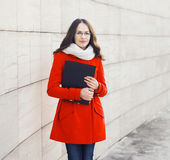 Education, student and people concept - pretty girl in glasses. Outdoors Royalty Free Stock Photography