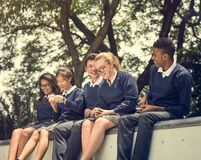 Education Students People Knowledge Concept. Teen Education Friends Enjoyment Concept Royalty Free Stock Image