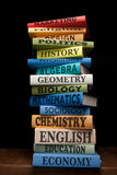 Education study books pile college textbooks stock photo
