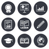 Education and study icon. Presentation signs Stock Photo