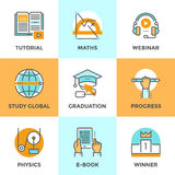 Education and study line icons set Stock Photos