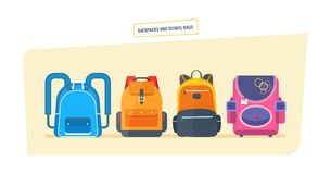 Education and study, school bag luggage, backpacks with school supplies. Backpacks and school bags concept. Education and study, school bag luggage, backpacks Stock Image