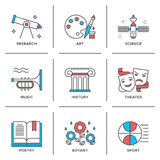 Education subjects line icons set Royalty Free Stock Images