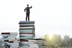 Education and success concept. Back view of young businessman standing on abstract book pile and looking into the distance on blurry city background. Education Stock Photos