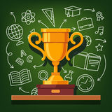 Education success golden cup Royalty Free Stock Photo