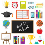 Education symbols icons in flat style Royalty Free Stock Photography