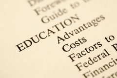 Education table of contents. Royalty Free Stock Photography