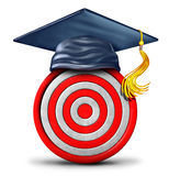 Education Target. And graduation goal concept as a school graduate mortar cap on a bulls eye object as a learning success strategy icon and metaphor or focused Royalty Free Stock Photos