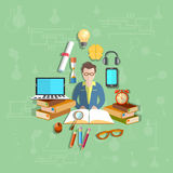 Education, teacher, student, online, vector illustration Royalty Free Stock Photography