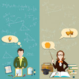 Education: teacher, student teacher school, college vector banners Royalty Free Stock Photography