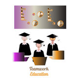 Education teamwork infographics template. Vector illustration. Can be used for workflow layout, banner, diagram, number options, step up options, web design Stock Image