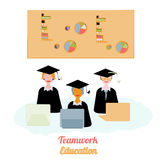 Education teamwork infographics template. Vector illustration. Can be used for workflow layout, banner, diagram, number. Options, step up options, web design Royalty Free Stock Photo