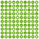 100 education technology icons hexagon green. 100 education technology icons set in green hexagon isolated vector illustration Stock Illustration