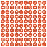 100 education technology icons hexagon orange. 100 education technology icons set in orange hexagon isolated vector illustration Stock Images
