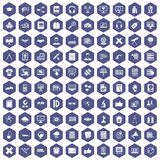 100 education technology icons hexagon purple. 100 education technology icons set in purple hexagon isolated vector illustration Royalty Free Stock Photos