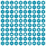 100 education technology icons sapphirine violet. 100 education technology icons set in sapphirine hexagon isolated vector illustration Vector Illustration