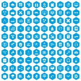 100 education technology icons set blue. 100 education technology icons set in blue hexagon isolated vector illustration vector illustration