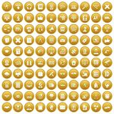 100 education technology icons set gold. 100 education technology icons set in gold circle isolated on white vectr illustration royalty free illustration