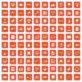 100 education technology icons set grunge orange. 100 education technology icons set in grunge style orange color isolated on white background vector Stock Photography