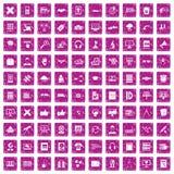 100 education technology icons set grunge pink. 100 education technology icons set in grunge style pink color isolated on white background vector illustration Royalty Free Stock Photo