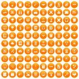 100 education technology icons set orange. 100 education technology icons set in orange circle isolated vector illustration Stock Photo
