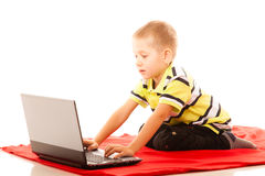 Education, technology internet - little boy with laptop Stock Photography