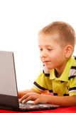Education, technology internet - little boy with laptop Royalty Free Stock Images