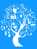 Education and technology tree. White education and technology tree on blue background stock illustration