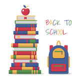 Education template design with books pile. Stock Photo