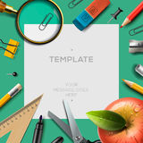 Education template with office supplies, back to Stock Photos