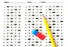 Education test sheet with yellow pencil. Education concept Royalty Free Stock Image