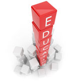 Education. The text on red 3d cubes Stock Photography