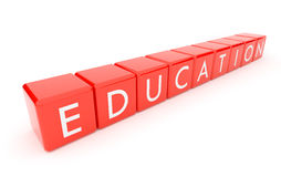 Education. The text on red 3d cubes. Isolated Royalty Free Stock Images