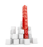 Education. The text on red 3d cubes. Isolated Stock Images