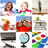 Education theme. Group of education theme people and objects royalty free stock photo