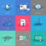 Education theme in flat line Royalty Free Stock Image