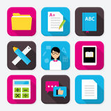 Education themed squared app icon set Royalty Free Stock Photography