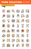 Education thin line flat design web icons collection Stock Photos