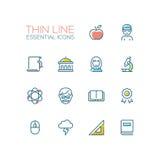 Education - Thin Single Line Icons Set Stock Photos