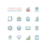 Education - Thin Single Line Icons Set Stock Photos