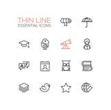 Education - Thin Single Line Icons Set Stock Photography