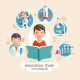 Education thinking conceptual. Children holding books. Stock Photo