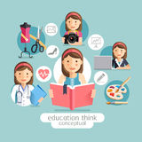 Education thinking conceptual. Girl holding books. Stock Photography