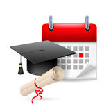 Education time icon. Graduation hat, scroll and calendar with marked day. Education event stock illustration