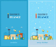 Education to France. Merry Christmas greeting card Stock Photos